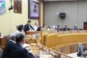 Vereadores e autoridades componentes da mesa na Audiência Pública que tratou sobre a liberação do Arroio Dourado - 24/04/2019