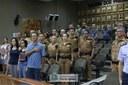 Moção de Aplauso foi entregue ao Batalhão de Patrulha Escolar Comunitária nesta quinta-feira no Plenário da Casa. O proponente da homenafem foi o vereador Marcelinho Moura (Podemos) - 14-03-2019