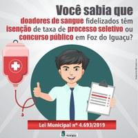Doador de sangue tem isenção em taxa de inscrição de processo seletivo ou concurso