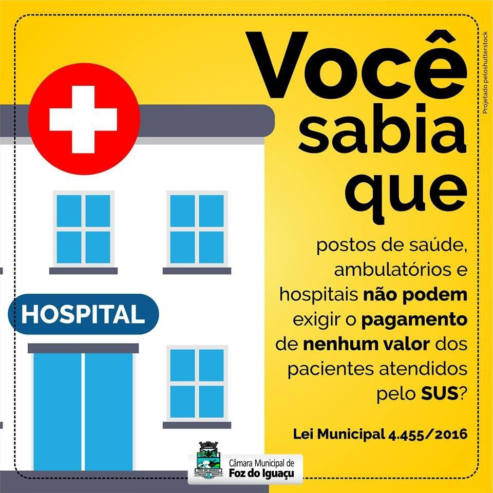 Estabelecimento público de saúde no município não pode cobrar taxa da população