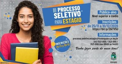 Inscrições para processo seletivo de estagiários para Câmara de Foz começam hoje, quarta (25/11)
